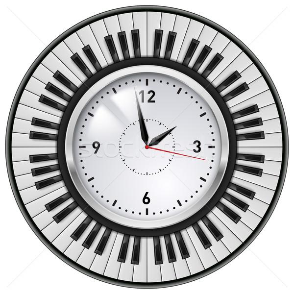 реалистичный служба часы клавиши пианино иллюстрация белый Сток-фото © dvarg