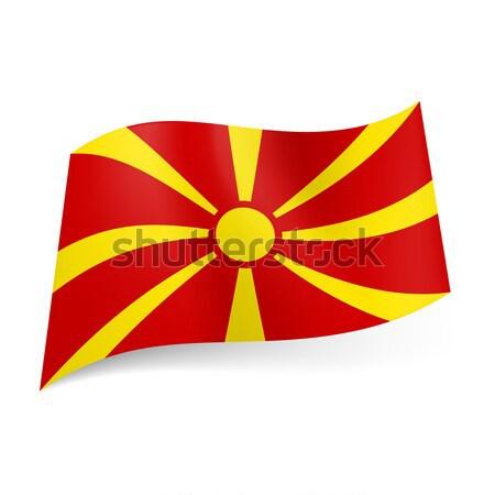 Bandera Macedonia amarillo sol rojo mundo Foto stock © dvarg