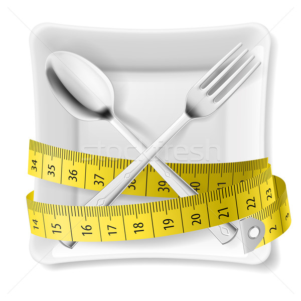 Plate with flatware and tape measure Stock photo © dvarg