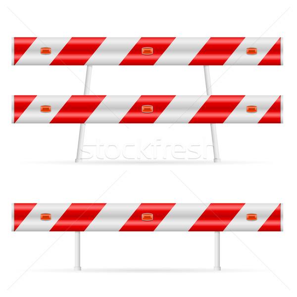 Bouw barricaderen weg illustratie witte tweede Stockfoto © dvarg