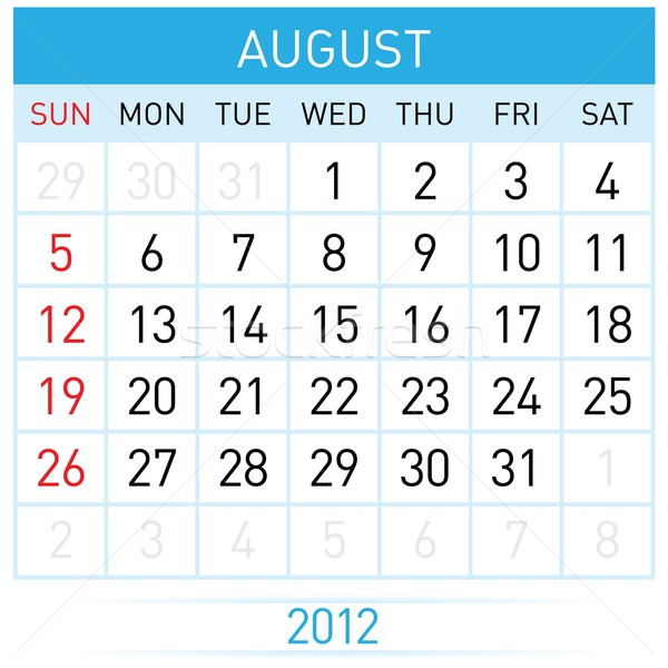 Agosto calendario illustrazione bianco design primavera Foto d'archivio © dvarg