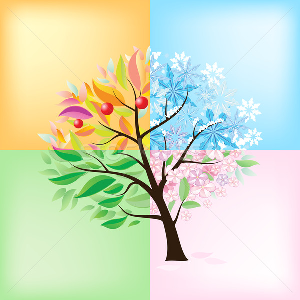 Arbre illustration blanche fleur herbe Photo stock © dvarg
