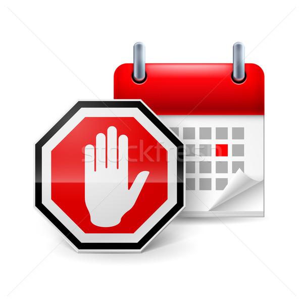 Día protesta icono senal de stop mano calendario Foto stock © dvarg