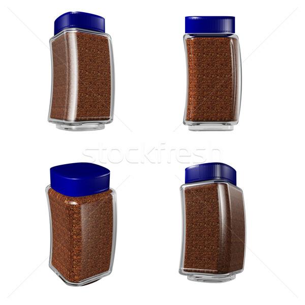Kawy szkła puli kawa rozpuszczalna żywności tle Zdjęcia stock © dvarg