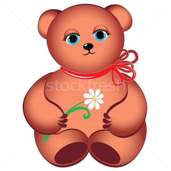 Little teddy bear with flower. Stock photo © dvarg