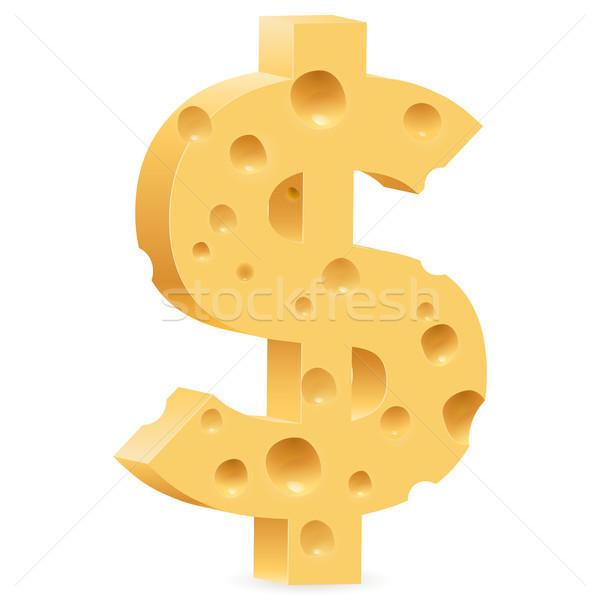 Käse Zeichen Dollarzeichen Illustration weiß Design Stock foto © dvarg