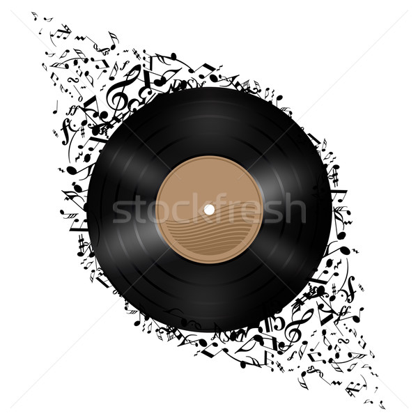 Vinyl disc with music notes. Stock photo © dvarg