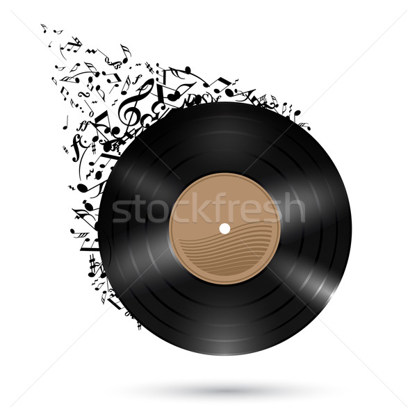 Vinyl disc with music notes. Stock photo © dvarg