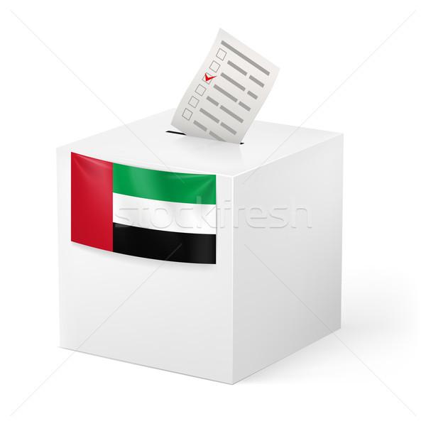 Cédula caixa votação papel Emirados Árabes Unidos eleição Foto stock © dvarg