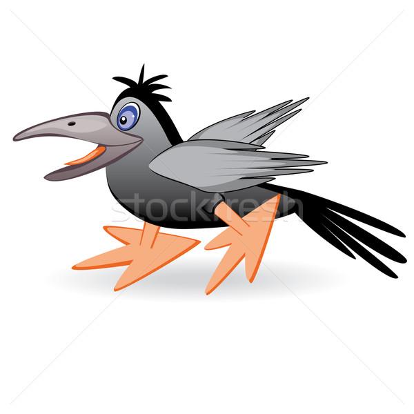 Karikatür kuzgun siyah eğlenceli kuş göz Stok fotoğraf © dvarg