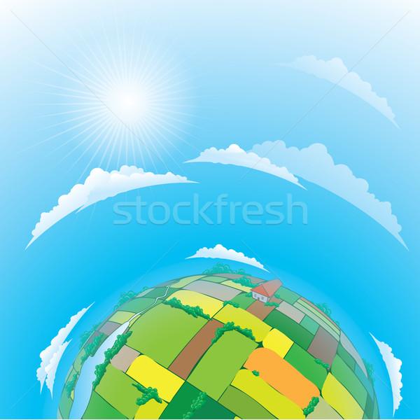 Föld földgömb mezőgazdasági mezők égbolt virág Stock fotó © dvarg
