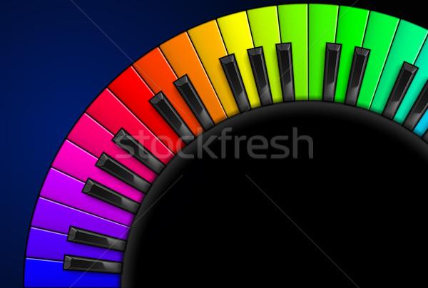 Pianotoetsen regenboog illustratie zwarte ontwerp toetsenbord Stockfoto © dvarg