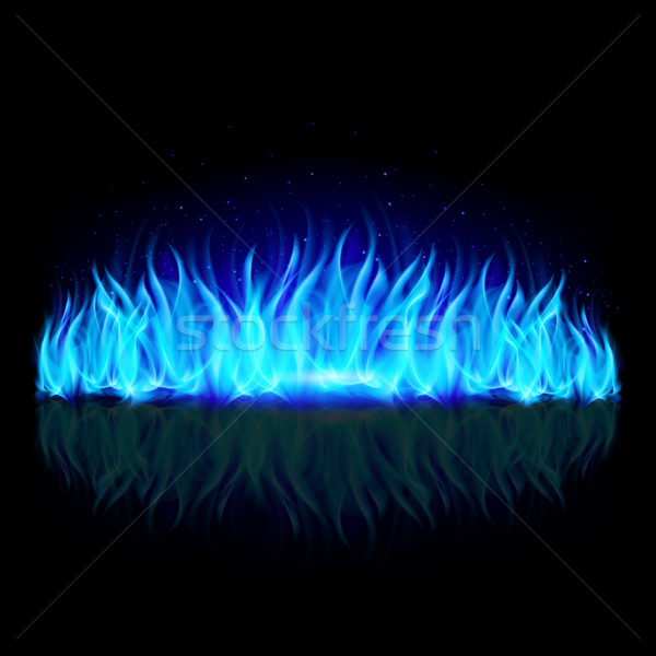 Wall of blue fire on black. Stock photo © dvarg
