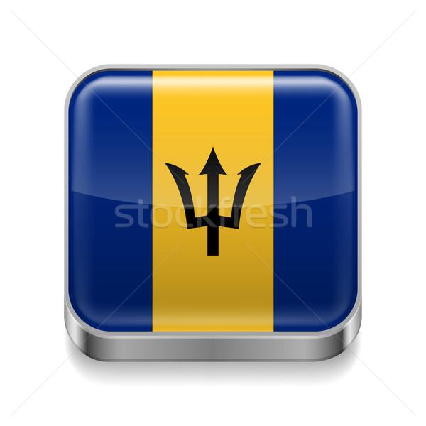 Metaal icon Barbados vierkante vlag kleuren Stockfoto © dvarg