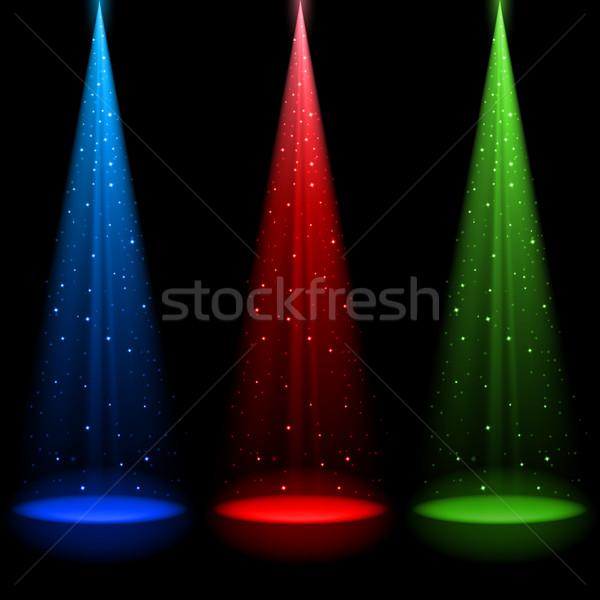 Trzy świetle Spotlight streszczenie projektu zielone Zdjęcia stock © dvarg