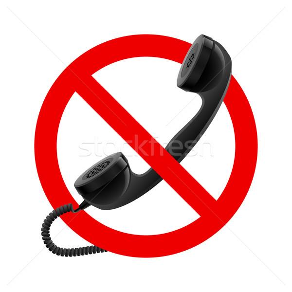 Nem telefonkagyló megengedett felirat illusztráció fehér Stock fotó © dvarg