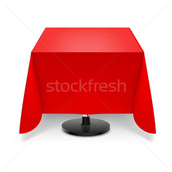 квадратный таблице красный скатерть обеденный стол ногу Сток-фото © dvarg