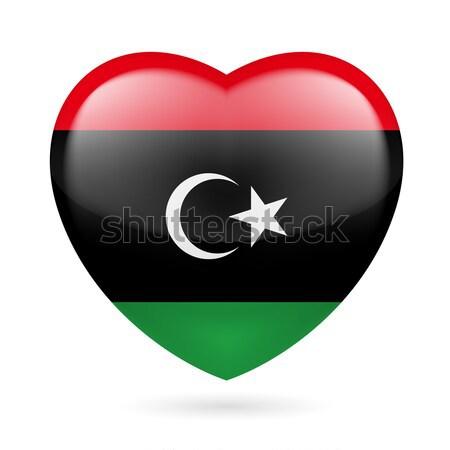 Serca ikona Libia banderą kolory miłości Zdjęcia stock © dvarg
