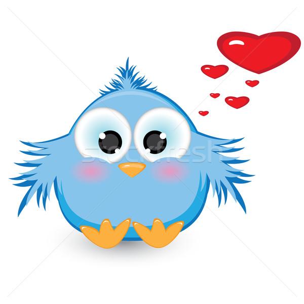 Miłości nieśmiała niebieski wróbel ilustracja biały Zdjęcia stock © dvarg