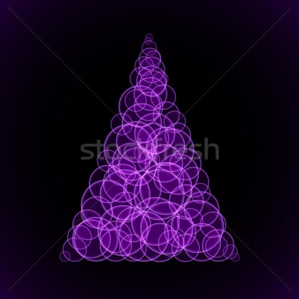 Abstractie paars kerstboom zwarte illustratie ontwerper Stockfoto © dvarg