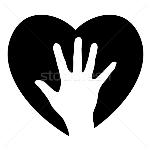 Segítő kéz szív illusztráció terv fehér gyermek Stock fotó © dvarg