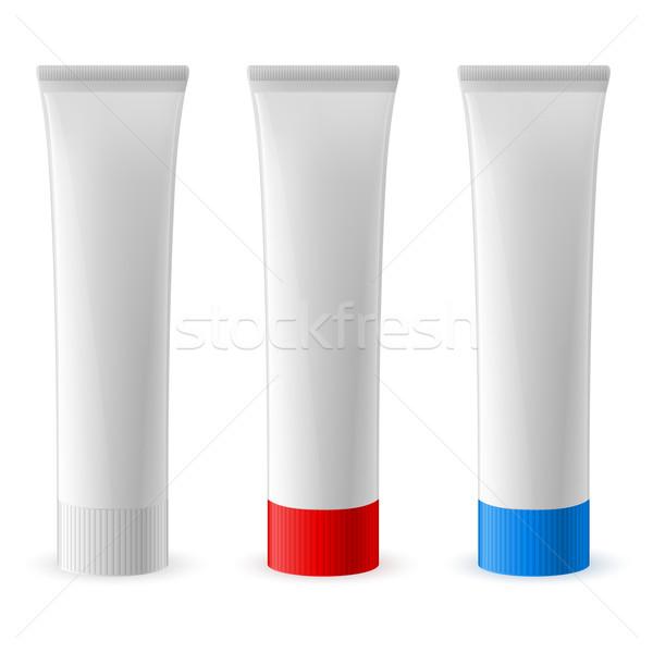 Сток-фото: зубная · паста · трубка · три · иллюстрация · белый · моде