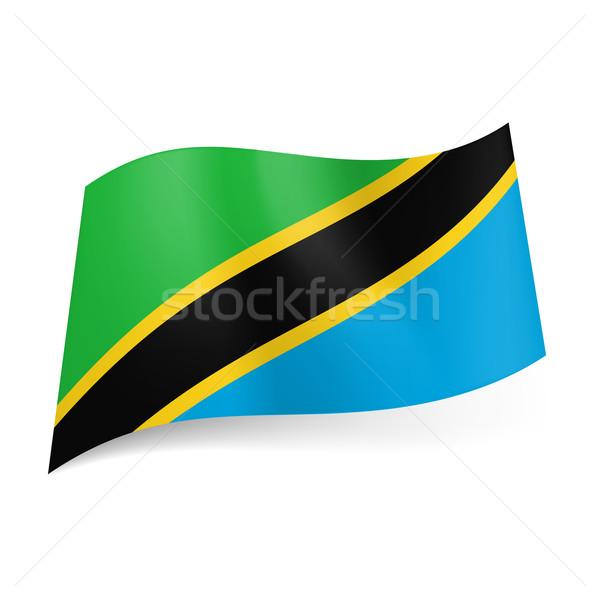 Banderą Tanzania przekątna żółty czarny naszywka Zdjęcia stock © dvarg