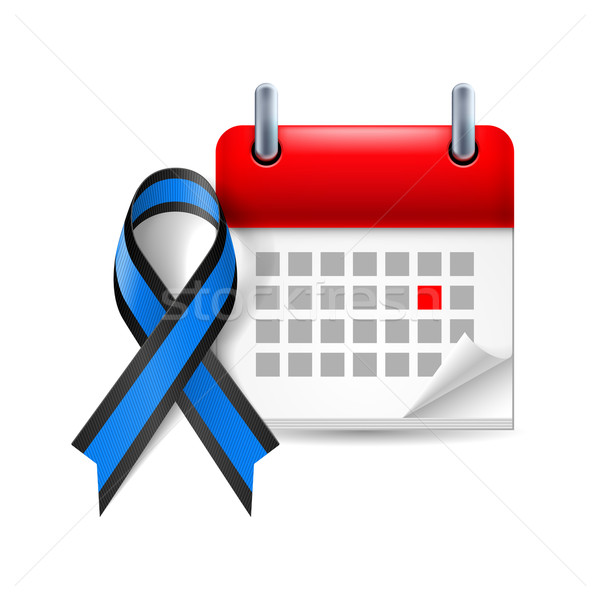 Blue and black awareness ribbon and calendar Stock photo © dvarg