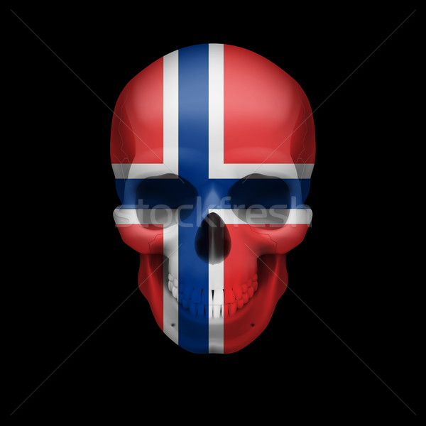 Norwegian flag skull Stock photo © dvarg