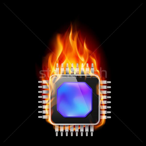 égő processzor illusztráció fekete kék mobil Stock fotó © dvarg