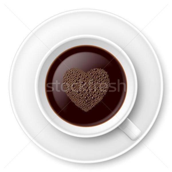 кружка кофе пена блюдце иллюстрация белый Сток-фото © dvarg