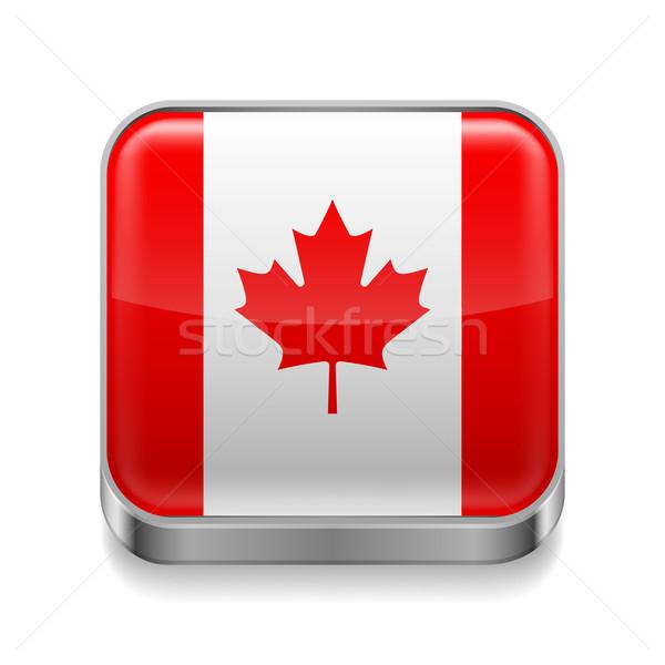 Métal icône Canada carré drapeau canadien couleurs Photo stock © dvarg