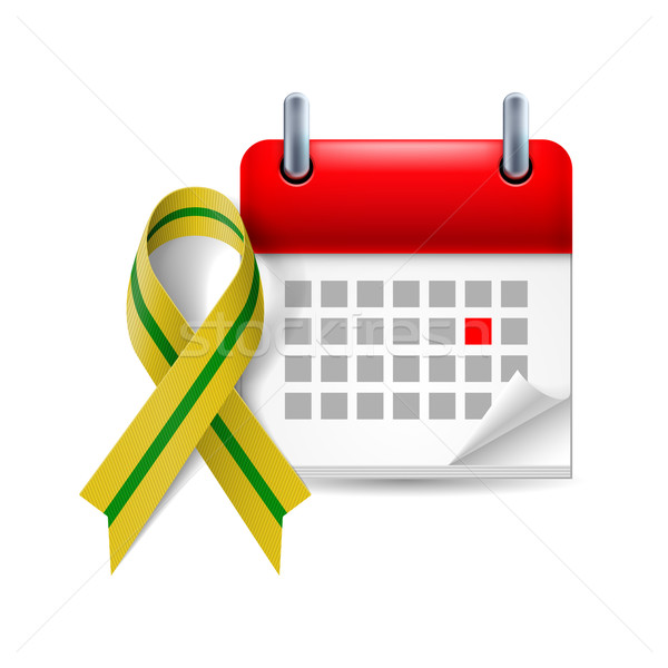 Olive-green awareness ribbon and calendar Stock photo © dvarg