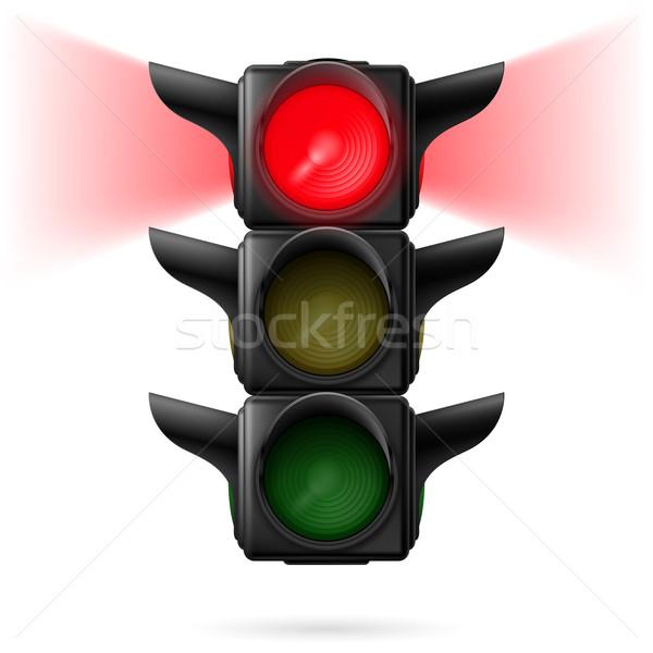 Trafik ışıkları gerçekçi kırmızı renk örnek beyaz Stok fotoğraf © dvarg