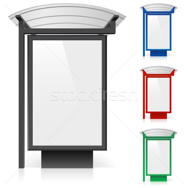 Billboard przystanek autobusowy inny kolory ilustracja biały Zdjęcia stock © dvarg