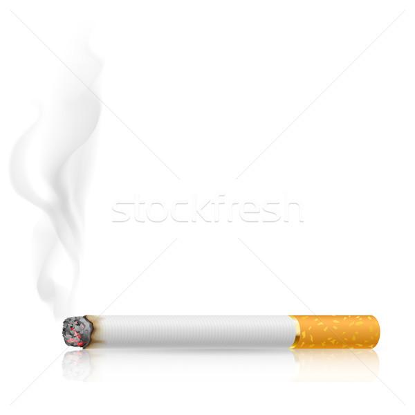 Foto stock: Cigarro · ilustração · branco · projeto · fumar · assinar