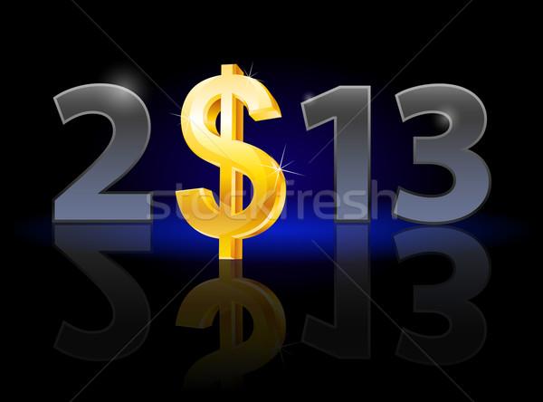Zwanzig dreizehn Jahr Dollarzeichen Illustration schwarz Stock foto © dvarg