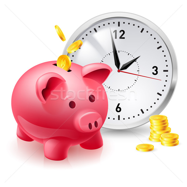 Pink pig bank with coins and clock Stock photo © dvarg