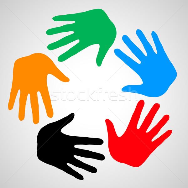 Handen vriendschap kleurrijk symbool helpen ondersteuning Stockfoto © dvarg