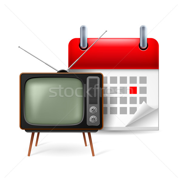 Old TV-set and calendar Stock photo © dvarg