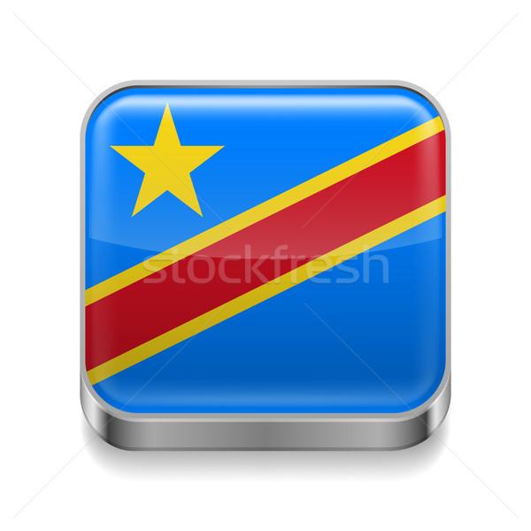 Metal ikon demokratik cumhuriyet Kongo kare Stok fotoğraf © dvarg