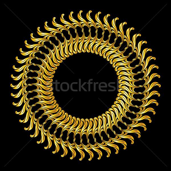 Kwiatowy wzór streszczenie złota kolory czarny Zdjęcia stock © dvarg
