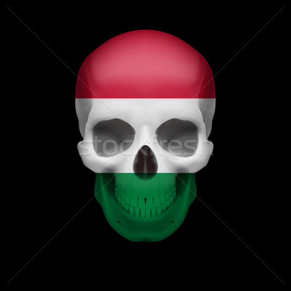 Hungarian flag skull Stock photo © dvarg