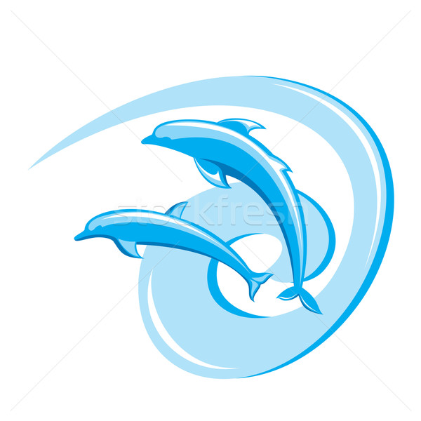 Twee dolfijnen witte hemel zomer Stockfoto © dvarg