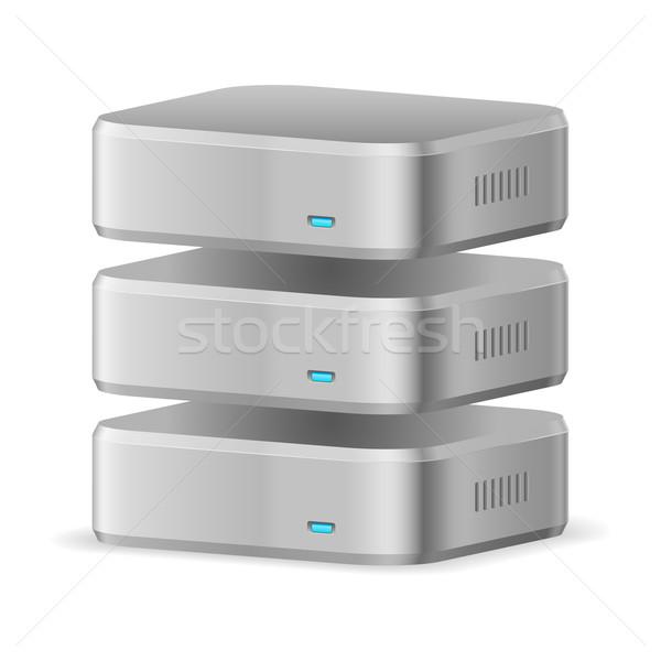 Bazy danych ikona ilustracja biały projektu serwera Zdjęcia stock © dvarg