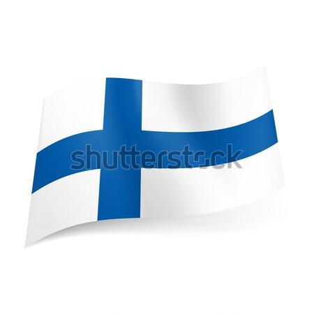 Vlag Finland Blauw kruis witte ontwerp Stockfoto © dvarg
