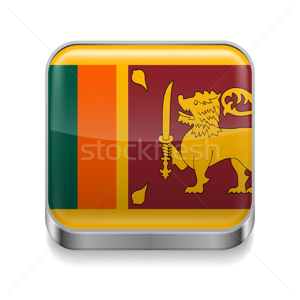 Metaal icon Sri Lanka vierkante vlag kleuren Stockfoto © dvarg