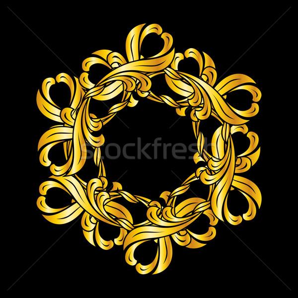 Kwiatowy wzór dekoracyjny złoty streszczenie Zdjęcia stock © dvarg