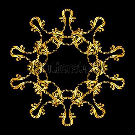 Kwiatowy wzór złota czarny Zdjęcia stock © dvarg