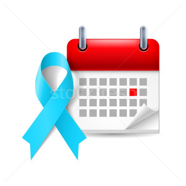 Jasnoniebieski świadomość wstążka kalendarza dzień prostata Zdjęcia stock © dvarg